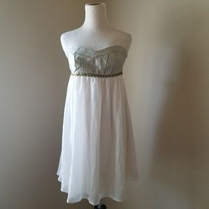 Charlotte Russe Ivory Gold Babydoll Dress